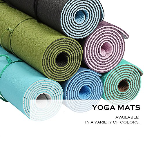 "Goture Non Slip SGS Certified TPE Material Yoga Mat With Carry Strap – High Density Thick 1/4"" Durable Mat 72""24"" Eco Safe Non Toxic Pilates Mat"