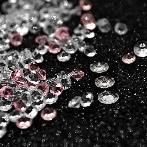 Okaytec 10000Stk Streudeko Diamanten 6mm Klar + 1000Stk 4,5mm Rosa Dekokristalle Tischdeko Hochzeit Dekosteine Glas für Konfirmation Kommunion Taufe