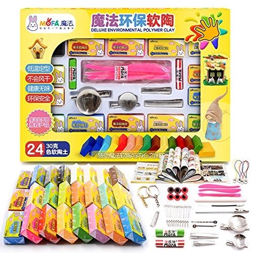 Mofa 24Farben 30g Polymer Clay mit Tools, Backen Modeling clay-diy Craft Polymer Block mit 11Modellierung Werkzeug Sets Jewelry Accessories (Modeling Tools Clay)