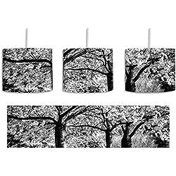Monocrome, Rosa blühende Kirschbäume inkl. Lampenfassung E27, Lampe mit Motivdruck, tolle Deckenlampe, Hängelampe, Pendelleuchte - Durchmesser 30cm - Dekoration mit Licht ideal für Wohnzimmer, Kinderzimmer, Schlafzimmer