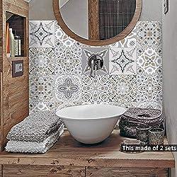 alwayspon Floor Wall Tile Transfers Sticker for Home Decor, Peel & stick self-adhesive splashback, Tile Decals for Living Room Kitchen Bathroom Decor, 10 Pieces
