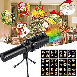 Projektor Weihnachten Taschenlampen LED, Weinachts Dekoration Projektionslampe mit 12 Motiven Folien und Stativ, Tragbar Dekorative Lichter Weihnachtsbeleuchtung Außenbeleuchtung