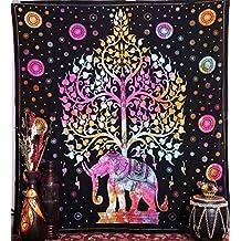 Handicrunch Tapiz de Elefante, Tapiz Hippie, Tapiz del Árbol de la Vida, tapies