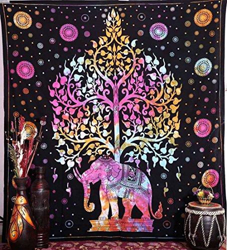 Handicrunch Tapiz de Elefante, Tapiz Hippie, Tapiz del Árbol de la Vida, tapies Bohemian, tapices de Pared, Tapiz Indio para Colgar en la Pared