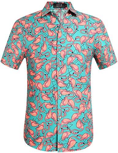 SSLR Herren Hawaii Hemd Kurzarm Freizeit Button Down 3D Gedruckt Aloha Shirts Strand (Medium, Grün) (Medium Hawaii-hemd, Herren)