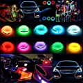 jiguoor 5M EL Wire Super Bright Light Neon Tube Of 360 Degrees of Illumination for Christmas, Party Decoration, White/Blue/Red/Green/Pink/Fluorescent/Warm White/Green/Light Green/Yellow/Orange/Purple