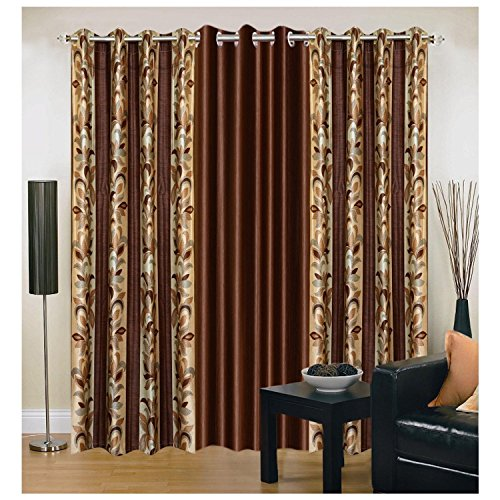 Exporthub Brown Eyelet Door Curtains Set Of 3 Pc (7x4 Feet)