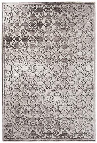 Tapiso Bohemian Teppich Klassisch Kurzflor Vintage Orientalisch Floral Blatt Muster Grau Silber Creme Wohnzimmer ÖKOTEX 200 x 300 cm