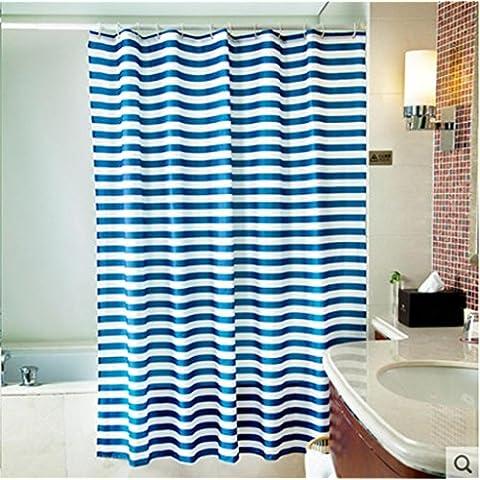 GYMNLJY strisce blu poliestere tenda doccia muffa impermeabile spessa Bagno Decorazione Bagno Doccia cortina di tagliare Hanging tenda ,