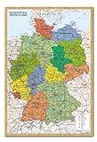 Deutschland Karte Pinnwand–Kork Board mit Pins gerahmt in Buche inkl. Stecknadeln, 96,5x 66cm (ca. 96,5x 66cm)