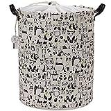 """Equipo de mar 19.7""""tamaño grande lona de elegante y lino tela para ropa sucia cesta de almacenamiento con asas de piel sintética Premium para Habitación de un niño, cordón de ajuste, con revestimiento resistente al agua"""