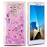Coque Huawei Honor 6X Transparent 3D Liquide Silicone TPU Etui Coque Huawei Mate 9 Lite Liquide Paillette Crystail Housse de Protection pour Huawei Honor 6X Etui Housse E-Lush Case - Rose 1