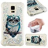 BONROY Samsung Galaxy S5 / S5 Neo Hülle - Handyhülle für Samsung Galaxy S5 / S5 Neo - Handy Case in(Fallender Sand - graue Katze)