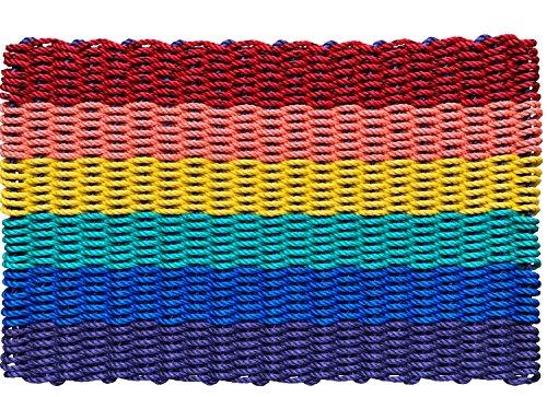 Wicked Good Hummer Seil Fußmatten, Angeln Seil die Sauberlaufmatten handgewebte in Maine 18 x 30 Rainbow Stripe