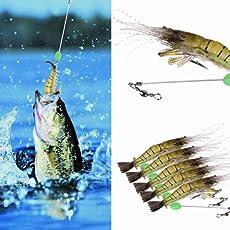 Zibuyu 5Pcs Shrimp Fishing Simulation Noctilucent Soft Prawn Lures Hook Baits