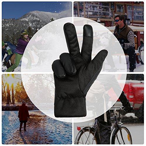 GLOUE Herren Handschuhe Warme Handschuhe Winter Outdoor-Sport Wasserdicht Winddicht Touchscreen Winterfest Rutschfest Abriebfest Fahrrad Motorrad Skilaufen Schwarz - 7