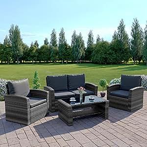 New Algarve Rattan Wicker Weave Garden Furniture Patio Conservatory Sofa Set INCLUDES OUTDOOR PROTECTIVE COVER (Grey)