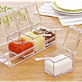 Xectes Crystal Seasoning Box,Seasoning Rack Spice Pots, Salt Spice Rack 4 Box With Spoons Kitchen See Through Storage Containers Cooking Tools