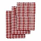 Linens Limited Frottee Baumwolle Küche Geschirrtücher, Rot/Weiß, 3Stück
