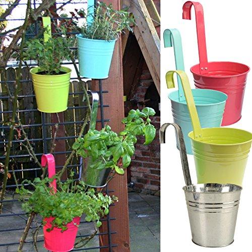 3er Set Hängetöpfe Zink Balkon Blumentopf hängend Balkontopf Pflanztopf zum hängen aus Metall in verschiedenen Sommerfarben