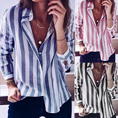 Wawer Women's Loose Long Sleeve Top Blouse, WomenTurn Down Collar Stripe Blouse Tops T-Shirt Great For Sports/Dance/Club/Party/Daily/Beach