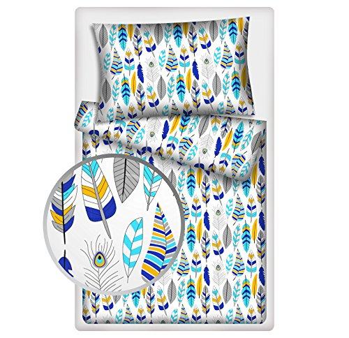 Kinderbettwäsche Federn 2-tlg. 100% Baumwolle 40x60 + 100x135 cm mit Reißverschluss (Federn blau)