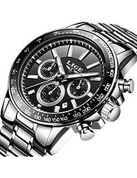 Relojes para Hombre de Acero Inoxidable Analógico Reloj de Cuarzo Hombres de Lujo Marca LIGE Reloj