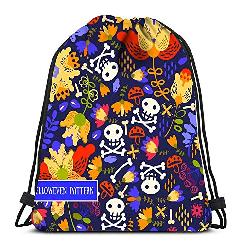 Kkyoxdiy Drawstring Backpack Bags Retro Voodoo Cartoon with Different Skull and Flowers Sports Gym Bag