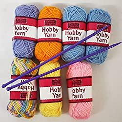 Childrens Craft My First Knitting Yarn Set Coloured Wool X 7 Balls & Needles By Rapide