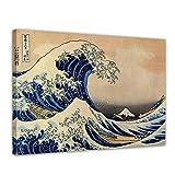 Wandbild Katsushika Hokusai Die große Welle vor Kanagawa - 70x50cm quer - Alte Meister Berühmte Gemälde Leinwandbild Kunstdruck Bild auf Leinwand