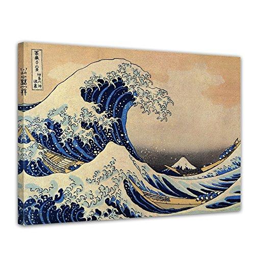 Bilderdepot24 Tela Katsushika Hokusai - dei Antichi Maestri La Grande Onda di Kanagawa 40x30cm - Pronto incorniciato, Direttamente dal Produttore