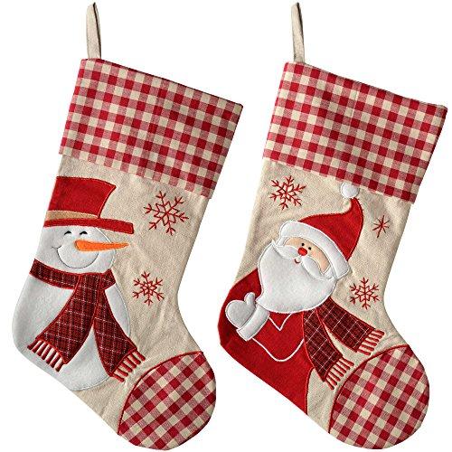 WeRChristmas–Figura de Papá Noel Muñeco de nieve calcetín de Navidad, de tela,...