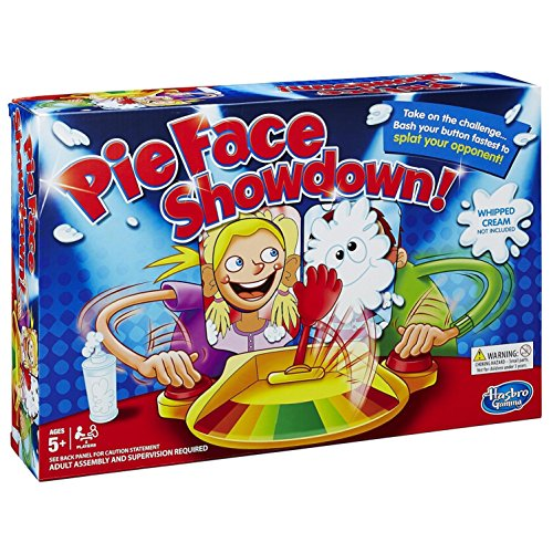The hilarious Pie Face Showdown game brings friends and family together for lots of laugh-out-loud fun. First, players load the arm with whipped cream (not included) or the included sponge. Then each player places their chin on one of the chin rests ...