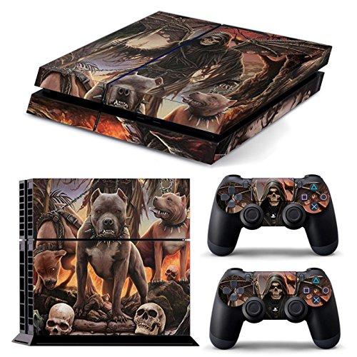 PS4 Deutschland GANZKÖRPER Zubehör Wrap Aufkleber Aufkleber Skin Cover für PS4 Playstation 4 (Three Pitbulls) Pitbull Spielzeug