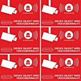 Aufkleber Alarmgesichert - Alarmanlage 10-Set 52x35mm - Rechteckig - rot