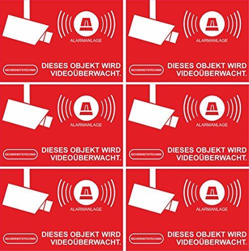 Preisvergleich Produktbild INDIGOS UG Aufkleber Alarmgesichert - Alarmanlage 10-Set 52x35mm - Rechteckig - rot