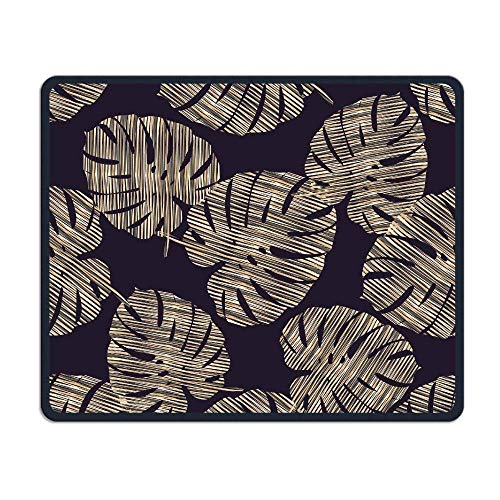 Gold Leaves Office Rectangle Non-Slip Rubber Mouse Pad Retro Gaming Mouse Pad for Laptop Displays Tablet Keyboard