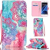 Ooboom® Samsung Galaxy S7 Edge Coque PU Cuir Flip Housse Étui Cover Case Wallet Stand avec Carte de Crédit Fentes Dragonne - Totem Fleur