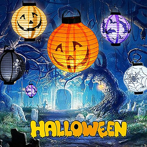 ELINKUME Halloween Dekorationen Lights 3D Paper Laternen mit Sicherheits-LED Lichtquelle, Packung mit 4-Skelett, bat, Jack-O, Spider für Party ()