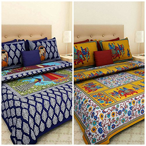 Ealth Kart 144 TC 100% Jaipuri Cotton Combo Set of 2 Double Bedsheet with 4 Pillow Covers