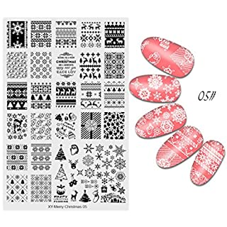 IGEMY DIY Merry Christmas Nail Art Image Stamp Stamping Plates Manicure Template Nail Stamping Plates (E)