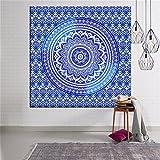"""Tela para colgar en la pared de Eleoption, distintos modelos, hecho a mano, tapiz decorativo, 2 tamaños (150x 130cm y 200x 150cm), Mandala Blue, 59""""x51""""/150cm*130cm"""