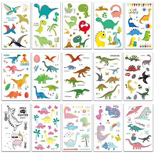 SZSMART Dinosaurier Temporäre Tattoos Set, 15 Blättter Dino Kindertattoos Sticker Aufkleber für Kinder Jungen Mädchen Kindergeburtstag Party Mitgebsel Geschenk