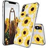 IPhone X Case, IPhone X Case For Women, MOSNOVO Floral Flower Sunflower Pattern Clear Design Transparent Plastic Hard Back Case With TPU Bumper Protective Case Cover For IPhone X / IPhone 10