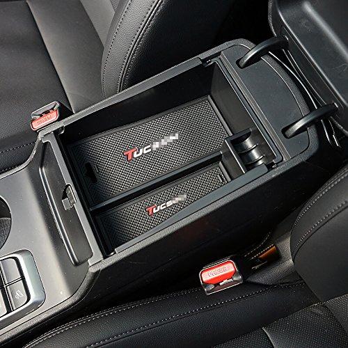 BeHave CW1905W auto bracciolo Storage box, contenitore interno auto borsa organizer box 1pezzi auto centrale console box (nero)