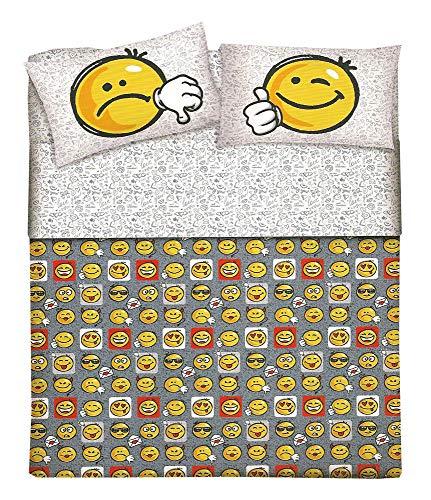Smartsupershop Offre : Housse de Couette 2 Places Smile Pretty Pebbles faccine emoticône - en Coton - Produit Italien - Dona Un Tocco Glam à la ta Chambre à Coucher