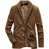 HOOUDO Men Blazer,Autumn Winter Casual VintageV Neck Button Plus Size Corduroy Warm Thicken Turn Down Collar Tuxedo Jackets