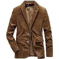 HOOUDO Men Blazer,Autumn Winter Casual Vintage V Neck Button Plus Size Corduroy Warm Thicken Turn Down Collar Tuxedo…