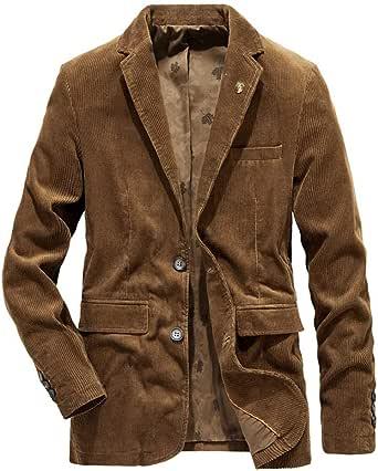 HOOUDO Men Blazer,Autumn Winter Casual VintageV Neck Button Plus Size Corduroy Warm Thicken Turn Down Collar Tuxedo Jackets Suits Coat Outwear