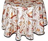 Klassische Tischdecke Oval 160x220 cm Tischtuch Tafeltuch Pflegeleicht Bügelfrei preiswert Creme BLäTTER Farbig Deko Herbst 160x220 cm Oval
